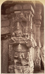Corner Pillar of Puthoo Mantapam, Temple at Madura, representing Iswara and Ravana